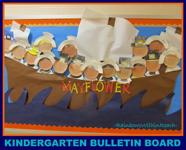paper plate Pilgrims and Thanksgiving bulletin board; another idea would be to take each student's picture for the pilgrims face