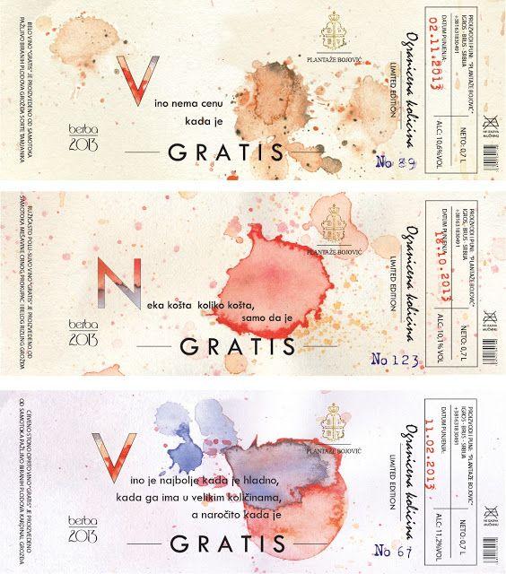 GRATIS Wine Label (Concept)  ワインラベルに予めプリントされた ワインのシミ、というアイディアが面白い。 しかも企画倒れにならない造形センス。 とても品よくまとめられている。