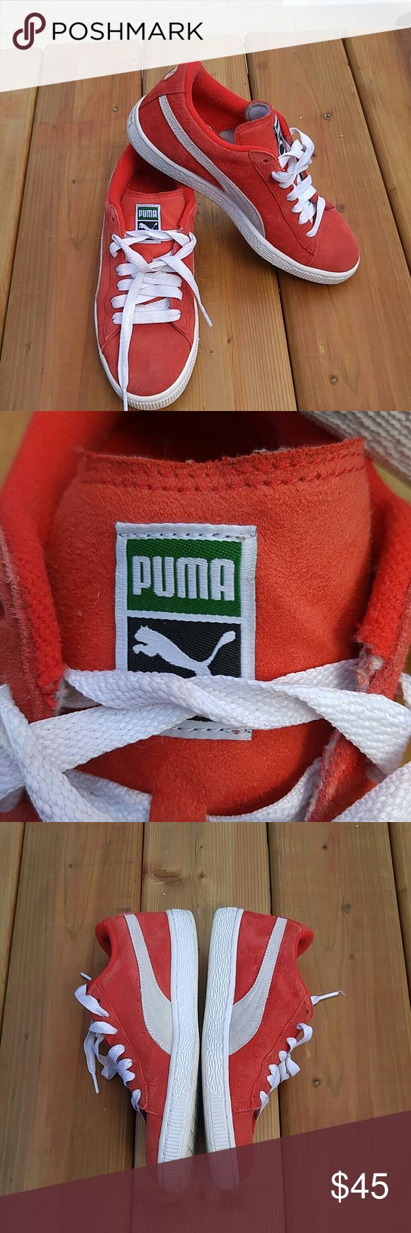 1 HOUR SALE RED PUMA SNEAKERS Red suede and PUMA sneakers with white accents. Gorgeous and not your typical pair of sneakers. Make a statement. Be unique Puma Shoes Sneakers
