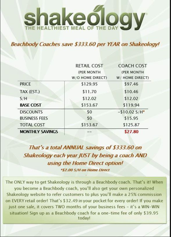 I started coaching simply for the discount!!! If you are interested in Shakeology, send me a friend request: https://www.facebook.com/fitnfree72