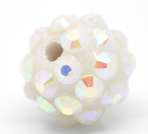 "Acrylic Ball Beads, white ab, 12mm(1/2""), 20pcs, use in braided bracelets"