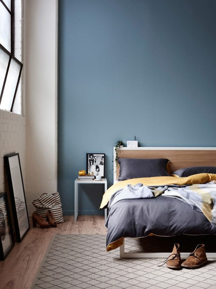 Moody light blue bedroom