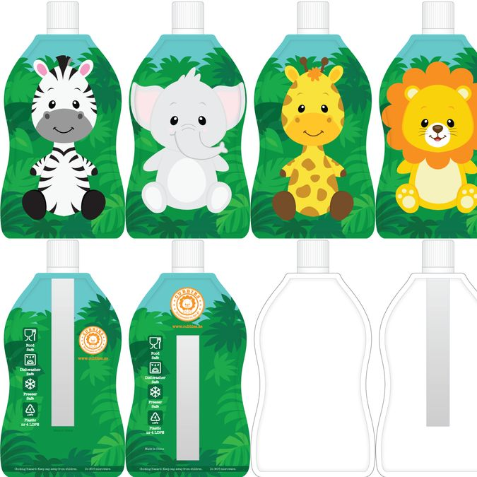 Create fun animal product design for reusable food pouch for babies and up! by Alex Kin