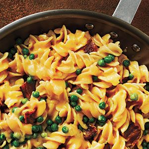 Rotini and Cheese Recipe. I made with extra peas and without the bacon. Next time include the bacon.