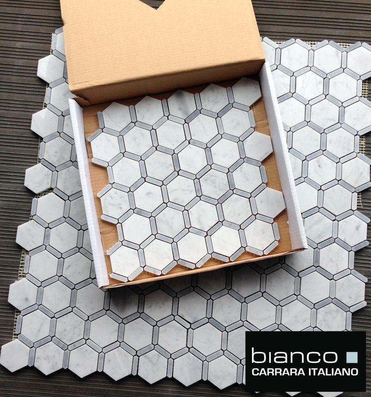 Carrara Bianco Hexagon Honeycomb Marble Mosaic Tile