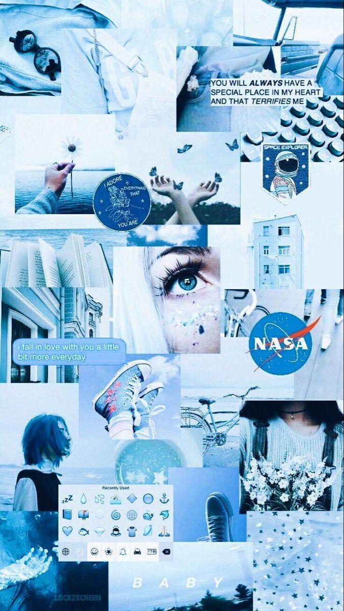 Aesthetic Blue Ilustrasi Poster Foto Abstrak Wallpaper Iphone
