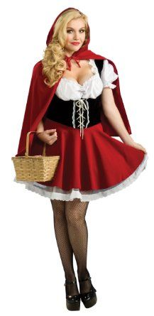 Women's Plus Size Red Riding Hood Costume, Red, 14-16