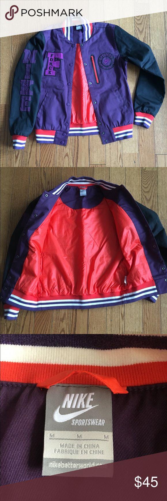 Vintage Nike Bomber Jacket Purple and black with orange highlight Nike Air Force bomber jacket. Nike Jackets & Coats