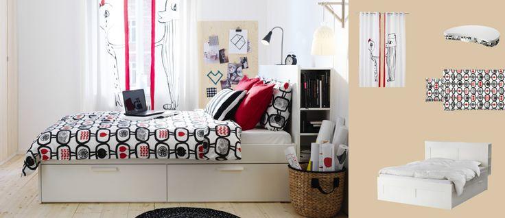 Wit BRIMNES bed met dekenlades en hoofdeinde met opbergvakken