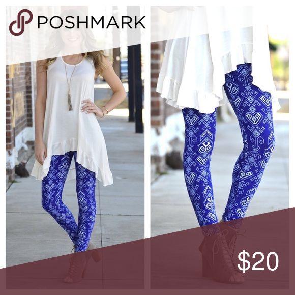 🆕️🌟Cobalt Aztec Leggings Super soft Cobalt and white Aztec leggings!  One size fits 2-12 comfortably  92% polyester  8% spandex boutique Pants Leggings