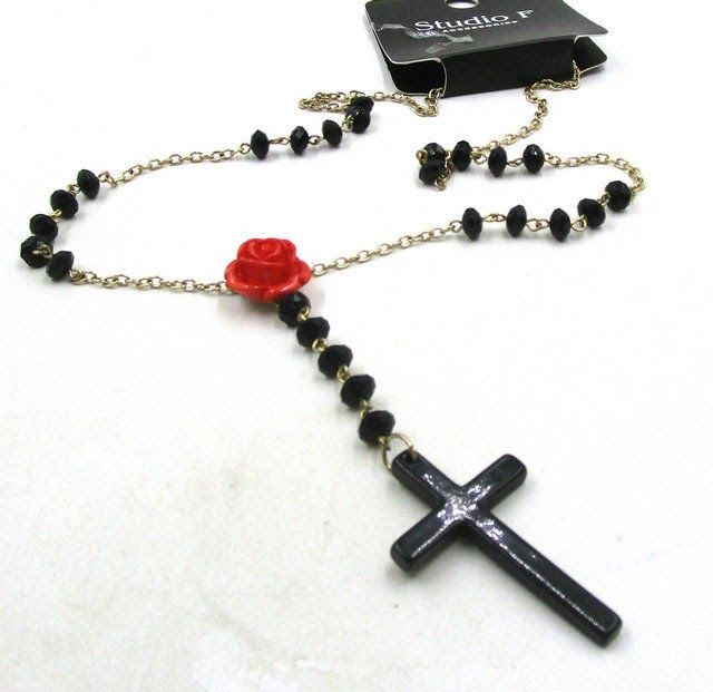 Free Shipping Fashion Jewelry Popular Black Cross Chain Necklace NB6210