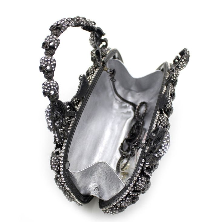 Metal Handle Crystal Evening Bags Halloween Gifts Skull Clutch Bags Black Originality Evening Party Bags Prom Handbag