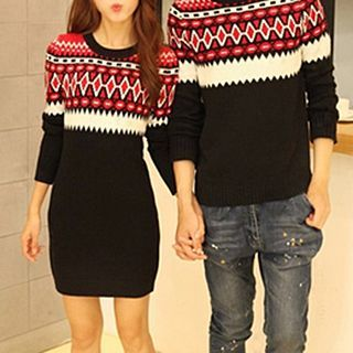 Buy Fashion Street Pattern Couple Matching Sweater / Sweater Dress at YesStyle.com! Quality products at remarkable prices. FREE WORLDWIDE SHIPPING on orders over US$35.