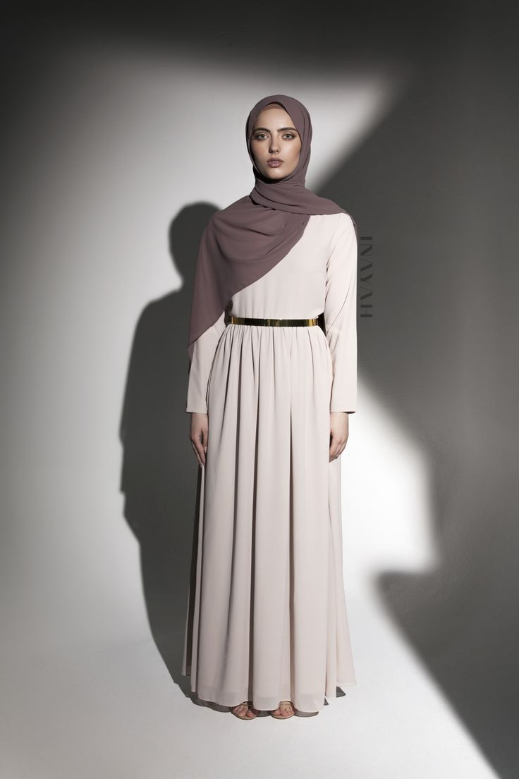 INAYAH | Timeless pieces in vintage hues - Sand Classic Occasion #Gown + Dusty Ash Soft Crepe #Hijab - www.inayah.co