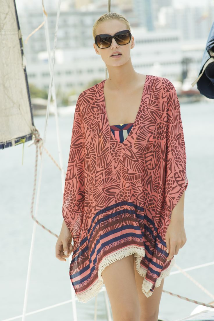 Striped Flowry Print Cover Up / Shop Online at www.touche.com.co Touche Collection Swimwear
