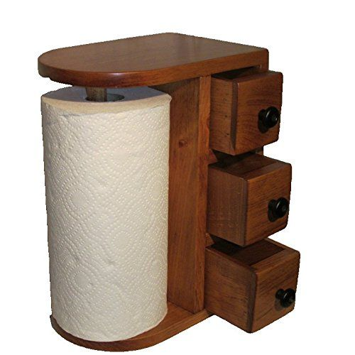 Amish Handcrafted Wooden Paper Towel Holder Station With 3