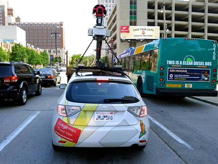 The Google Maps Street View car, so that's how they get the cool 360 views.