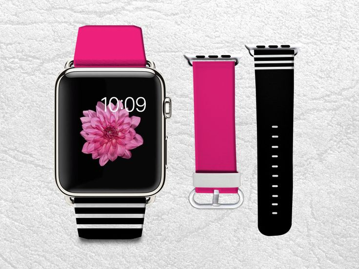 Hot Pink with Black & White Stripes Apple Watch Band, 42mm/38mm Genuine Leather Strap Wrist Band Replacement with Metal Clasp for Apple Watch All Models 42mm/38mm iWatch Strap -W3
