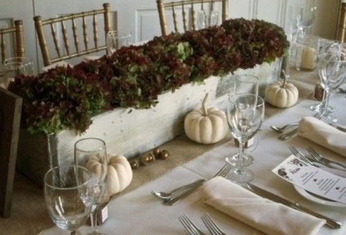 LETTUCES IN AN ANTIQUE PAINTED WINDOW BOX. This is easy! Find a long, narrow window box. Distress it in antique white. And then fill it with a variety of green and purple lettuces. Beautiful, natural, and simple. Also, I like that this particular setting stays away from the overly orange Thanksgiving table settings....