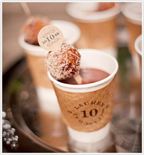 Customized stir sticks and sleeves! With a donut hole!!! Wedding coffee bar ... Wedding reception food drink snacks ... Rustic glamorous, country elegance, shabby chic, vintage, whimsical, boho, best day ever