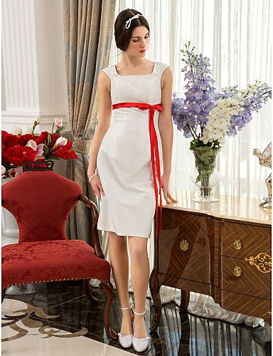 A-line/Princess Plus Sizes Wedding Dress - Ivory Knee-length Square Taffeta – USD $ 89.99