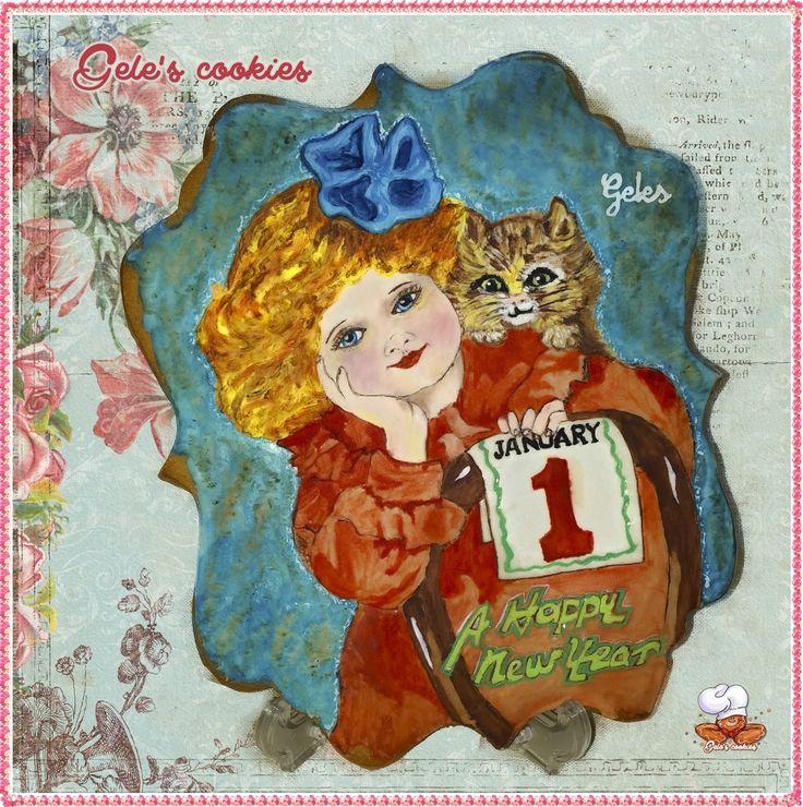 Galleta happy new year, royal icing pintada a mano