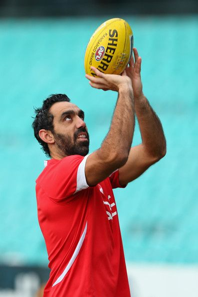 Adam Goodes of the Swans lays the ball up during a Sydney Swans AFL training session at Sydney Cricket Ground on July 10, 2013 in Sydney, Australia.