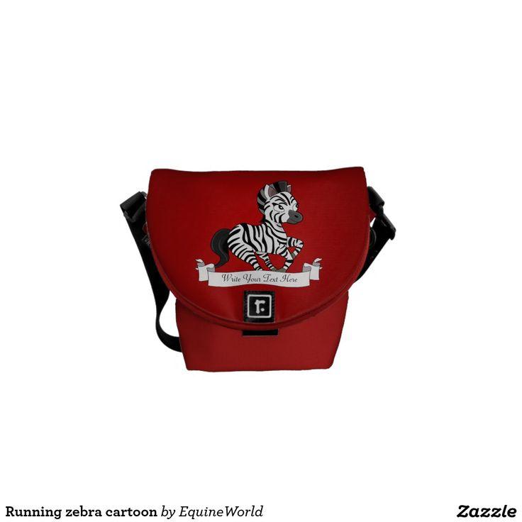Running zebra cartoon messenger bags
