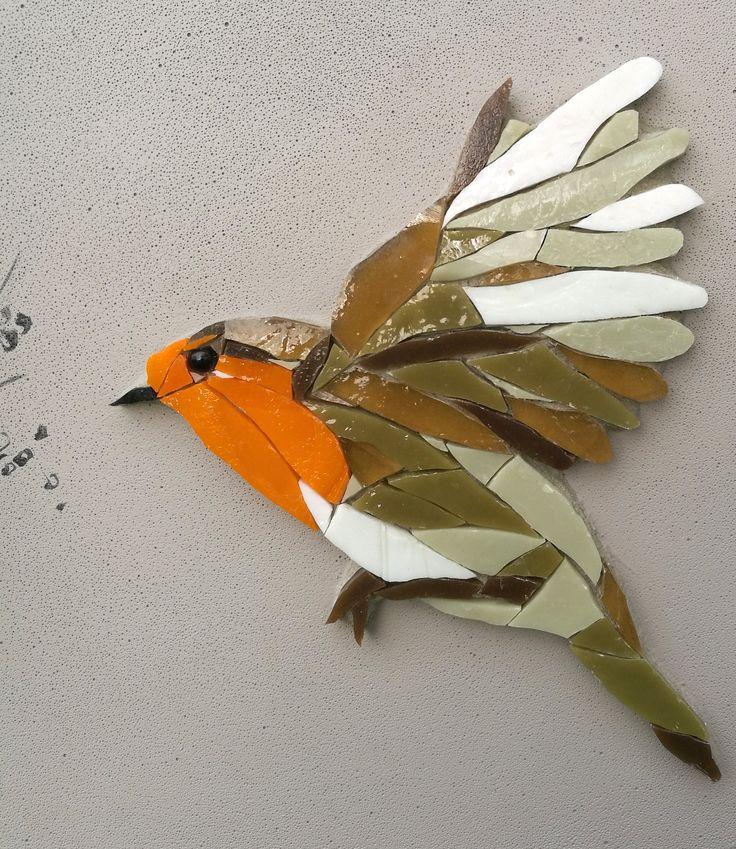 Romane Mosaique D Art Murale Decor Interieur Oiseau Rouge Gorge Cercle Verre Couleur Nature Boho Sculpture Murale Fine Art Tuile Sculpture Murale Oiseaux En Mosaique Art Mural