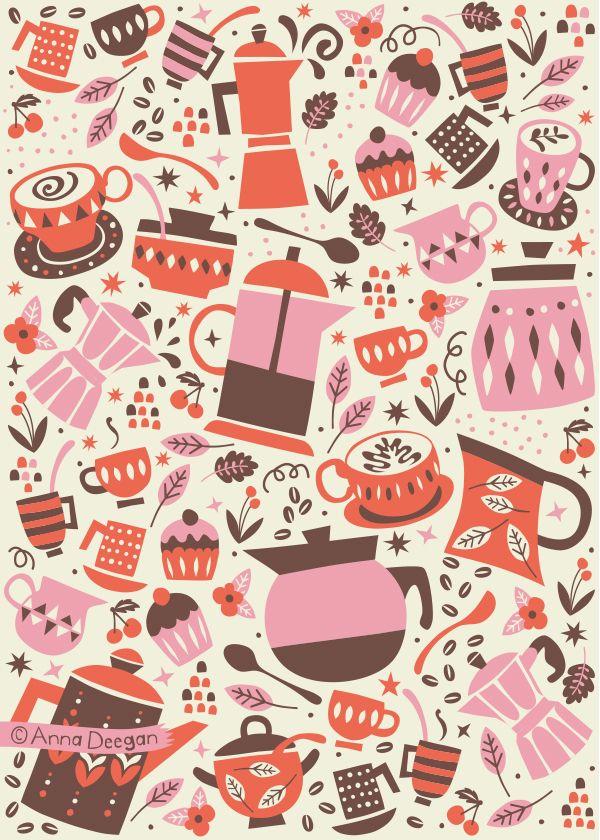 Coffee and Cakes by Anna Deegan, via Behance