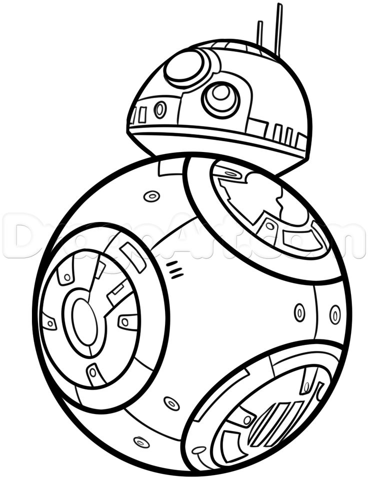 Coloring Pages To Draw : How to draw bb step star wars party pinterest