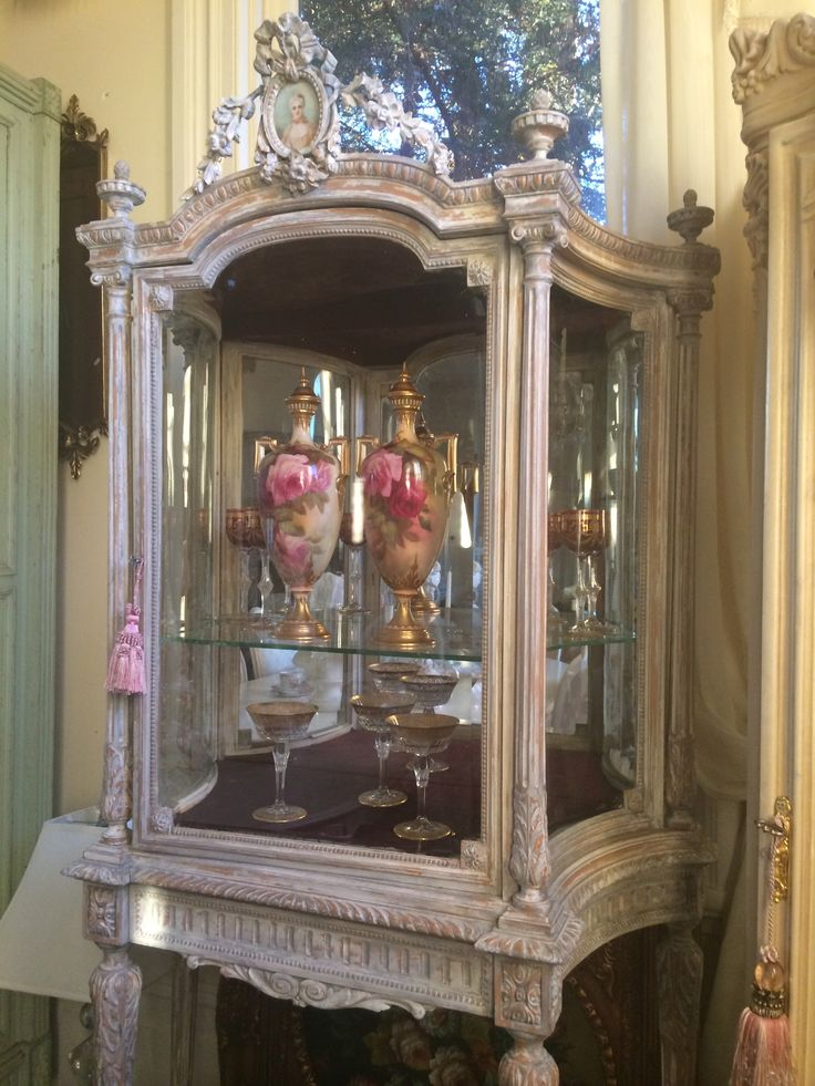 antique french louis xvi vitrine with Royal Worcester urns and St Louis  french crystal stems - 101 Best French Furniture Images On Pinterest Antique Furniture