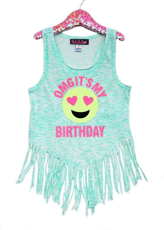 Sale Birthday Shirt Girls Emoji Shirt Glitter Shirt