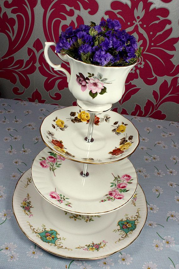 Vintage Cake Stand English Fine China Shabby Chic Mismatch Tea