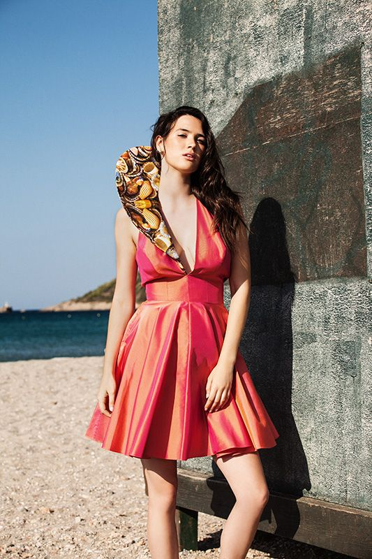 Pink-orange cruelty-free taffeta dress with digitally printed collar open back (DSS1512) Menesthò visit www.menestho.com to pre-buy #menestho #ethical #sustainable #fashion #resortwear #ss15