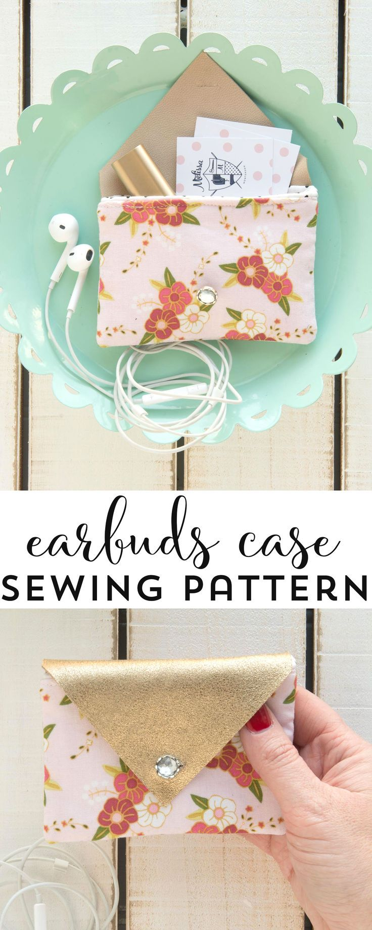Free Sewing Pattern for a fabric and leather earbuds carrying case, would also be a great business card holder, by http://polkadotchair.com