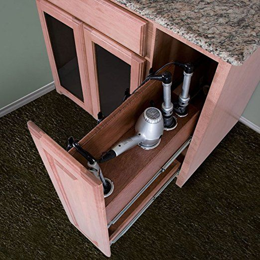 Vanity Valet Pullout - Curling Iron, Flat Iron, and Hair Dryer Holder Pullout System