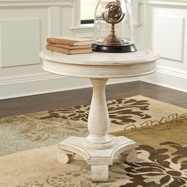 Signature Design By Ashley Cottage Accents White Round Accent Table   With  Its Grand Pedestal Base And Distressed, Cottage White Finish, The Signature  ...