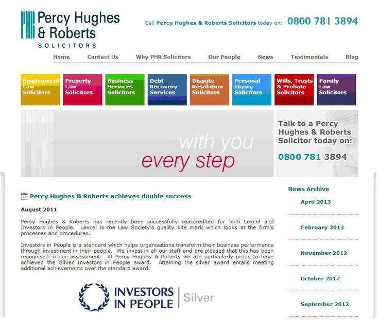 Percy Hughes & Roberts double - Lexcel & Investors in People Silver