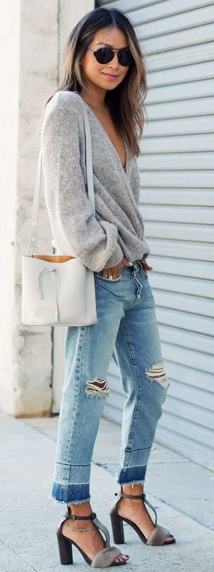 Plunge V-neck Gray Sweater On Denim Fall Street Style Inspo #Fashionistas