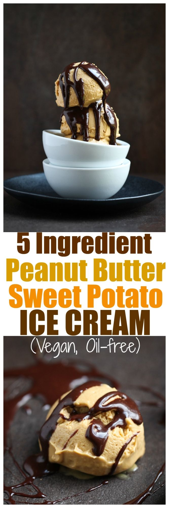 5 Ingredient Vegan Peanut Butter Sweet Potato Ice Cream. Vegan, dairy-free, oil-free, gluten-free peanut butter ice cream made with sweet potatoes & coconut