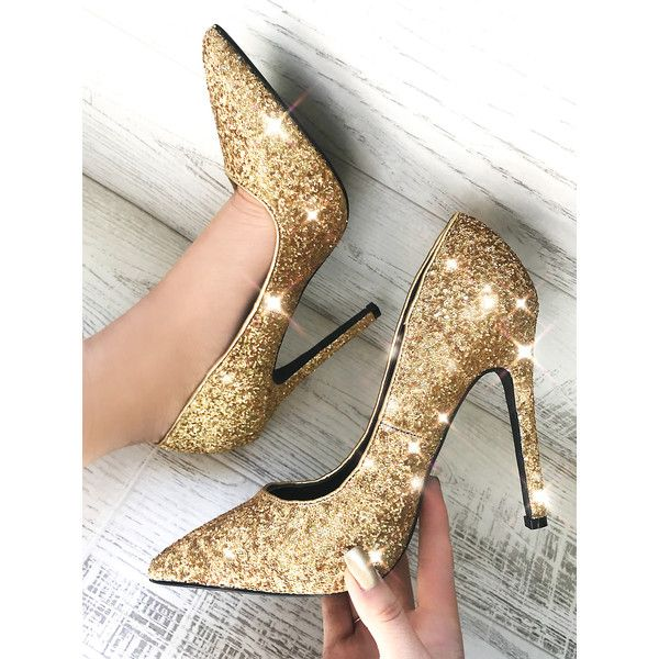 SheIn(sheinside) Glitter Point Toe Stiletto Pumps GOLD ($34) ❤ liked on Polyvore featuring shoes, pumps, golden, pointed toe high heel pumps, pointed-toe pumps, gold glitter pumps, sparkly pumps and gold shoes