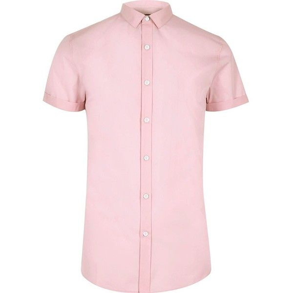 River Island Pink micro collar short sleeve shirt (26 AUD) ❤ liked on Polyvore featuring men's fashion, men's clothing, men's shirts, men's casual shirts, pink, shirts, mens oxford cloth shirts, men's collared shirts, mens cotton oxford shirts and mens tall shirts