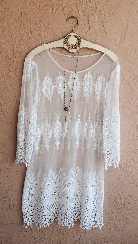Bohemian White embroidered Lace mesh sheer tunic