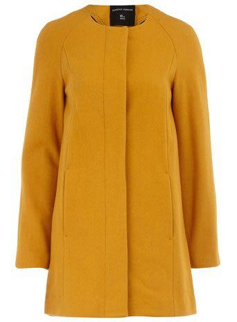 ochre collarless coat $79: Coat 79, Fashion, Ochre Color, Style, Wardrobe, Winter Coats