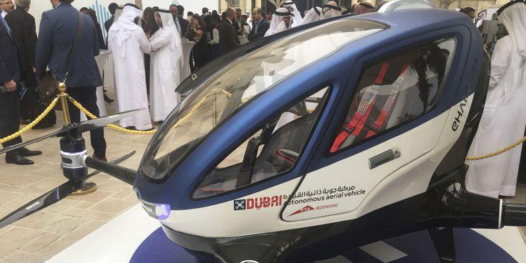 Летом 2017 года в Дубае начнут курсировать пассажирские дроны Ehang 184. Прототип пассажирского дрона впервые был представлен на выставке CES 2016 в Лас-Вегасе. Он построен на классической раме квадрокоптера и может развивать скорость до 160 километров в час и поднимать в воздух пассажира весом до 100 килограмм.  Изначально создатели дрона говорили о максимальном времени полета в 23 минуты, однако теперь сообщается о получасе