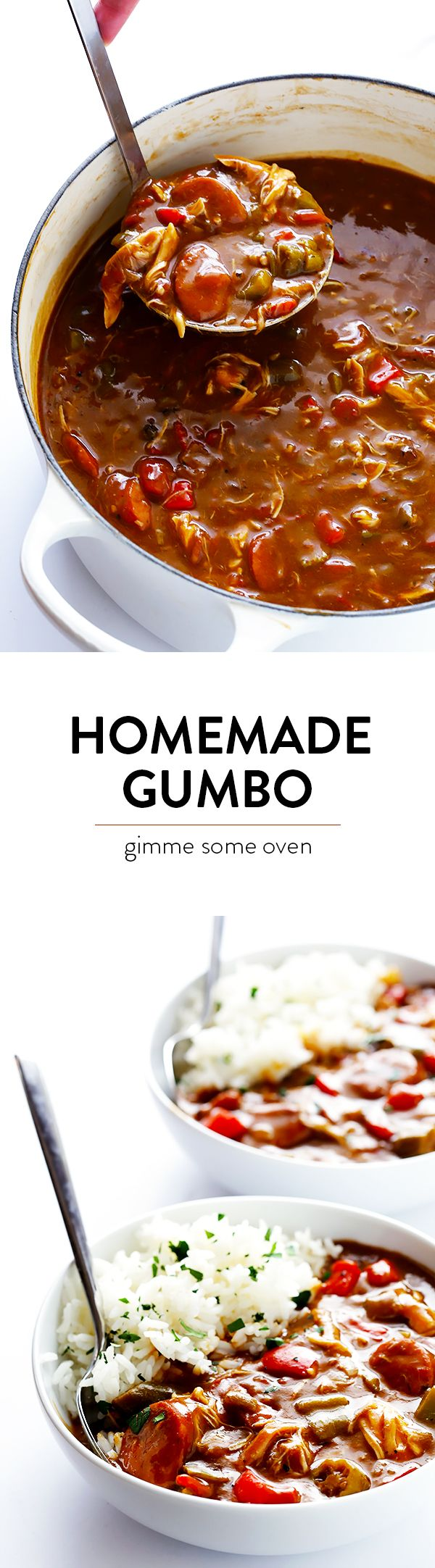 My All-Time Favorite Gumbo Recipe -- made with chicken and andouille sausage, lots of veggies, and absolutely delicious!! | gimmesomeoven.com