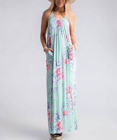 Look at this #zulilyfind! Mint Floral Racerback Maxi Dress #zulilyfinds
