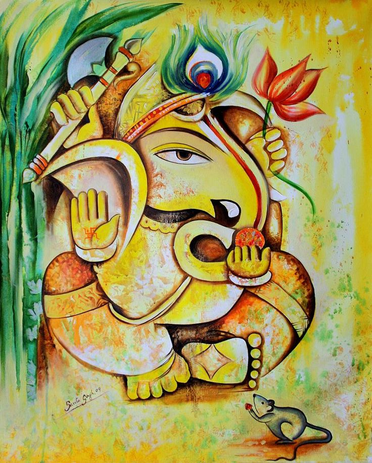 25 beautiful paintings of lord ganesha lord ganesha for Art of mural painting