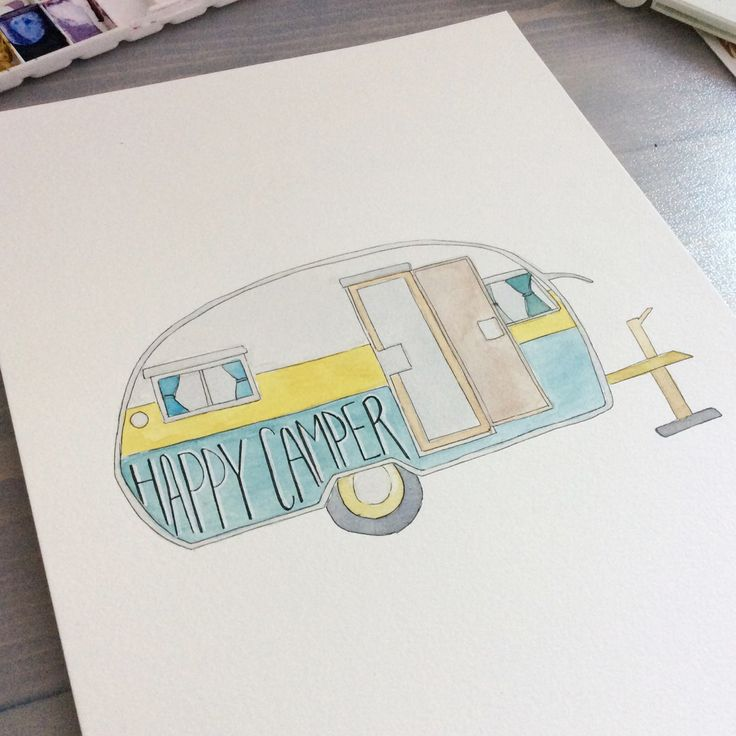 Happy Camper, Vintage camper in watercolour. Stay tuned for NEW prints available in our SpeakGlitter.comstore this summer!